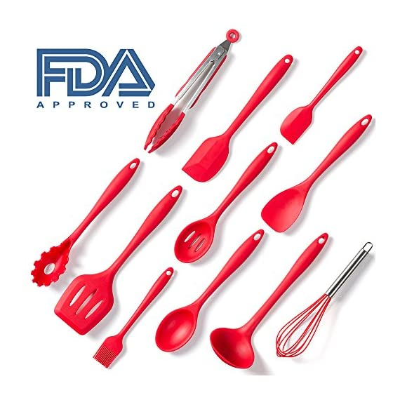Set of 10 Pieces Silicone Kitchen Cooking Utensils With Hygienic Solid Coating,Heat Resistant Baking Spoonula,Brush,Whisk,Large and Small Spatula,Ladle,Slotted Turner and Spoon,Tongs,Pasta Fork Red 1 COMPLETE COOKING UTENSILS SET COVERS ALL KITCHEN NEEDS-Spoonula,brush,whisk,large and small spatula,ladle,slotted turner and spoon,tongs,pasta fork,perfect for all types of foods and cooking HIGH HEAT 450°F SILICONE-Safe for coated & non-stick cookware,they simply won't discolor,warp,melt or chip like your old plastic kitchen utensils or bamboo kitchen utensils. EASE OF USE:Ergonomically designed handles and the perfectly shaped heads,hanging loops on each end for easy storage.