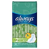 Always Ultra Thin Size 2 Long Pads With Wings, Super Absorbency, Unscented, 32 count (Pack of 3),Packaging May Vary