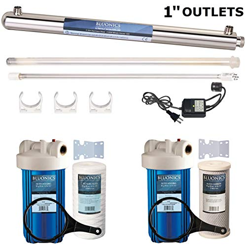 55W UV Ultraviolet Light + Sediment & Carbon Well Water Filter Purifier System with 1