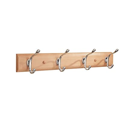 InterDesign Paris Wall Mount Storage Rack – Hanging Hooks for Jackets, Coats, Hats and Scarves - 4 Dual Hooks, Beech/Chrome