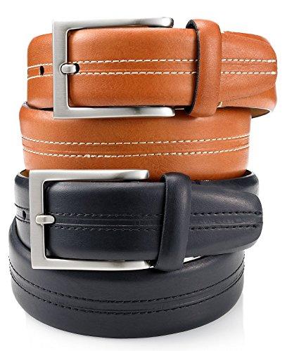 Tasso Elba Mens Casual Top Stitch 1-1/4-in Vachetta Leather Belt, Tan (36 REG)