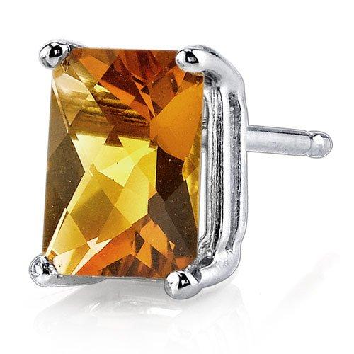 14 Karat White Gold Radiant Cut 1.75 Carats Citrine Stud Earrings