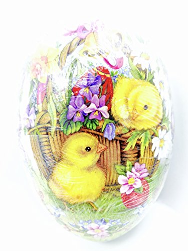 Easter Egg Treat Filling Container,Chicks in a Flower Basket,4.5