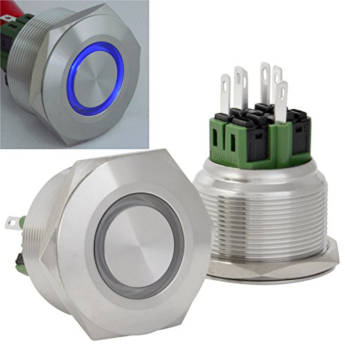JacobsParts Latching Pushbutton ON/OFF Maintained Power Switch Circular Metal Silver with Blue LED fits 1-3/16