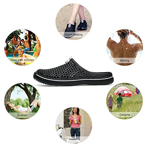 Padgene Quick Slip Summer Walking Garden Unisex on Sandal Lightweight Drying Black Slippers Clogs Shoes rIrC0wq