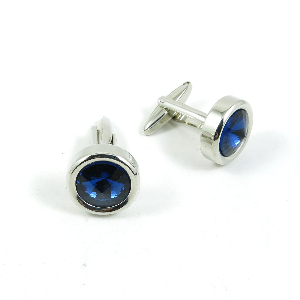 50 Pairs Cufflinks Cuff Links Fashion Mens Boys Jewelry Wedding Party Favors Gift EIA061 Blue Crystal Round