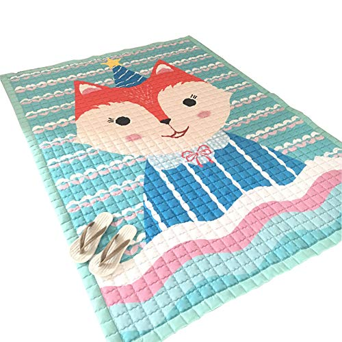 Fox Nursery Rug for Kid's Game Room Plush Play Crawling Rugs for Baby, Toddler, and Children Play Blanket, Yoga Mat