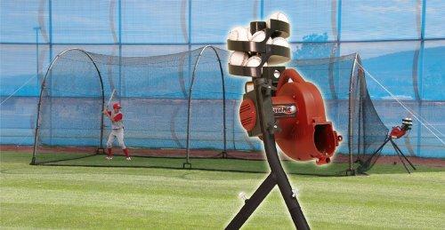 Real Ball Basehit Pitching Machine & 30' Xtender Batting Cage (Pitching Personal Machine)
