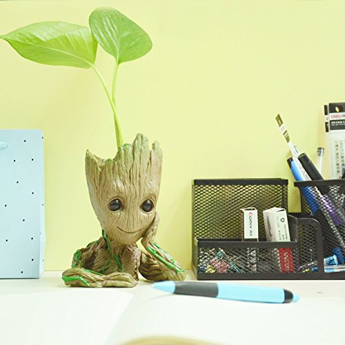 Baby Groot Flowerpot, The Guardians of Galaxy Flower Pot Cute Baby Action Figures Model Toy Pen Pencil Holder PVC Best Gifts 6.3in