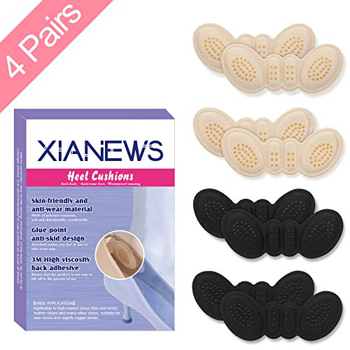 Heel Shoe Grips Heel Cushion Pads Heel Cushion Snugs Inserts, Shoe Pads, Heel Grips, Heel Pads, Grips Liners, Heel Blister Protectors for Men and Women's Loose Shoes, Too Big Shoes (2 Thin +2 Thick)