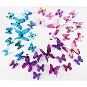 3D Vivid Butterfly Wall Stickers,Wall Sticker Decals for Kids Room Home - Set of 3,Purple,Pink,and Blue