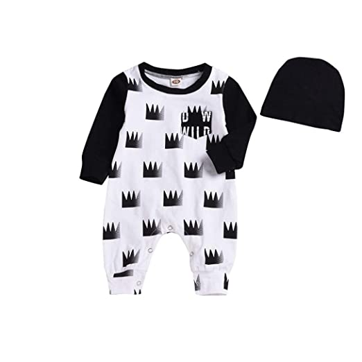 cb520a1a4 Amazon.com  2018 Newborn Infant Baby Boy Romper Long Sleeve Crown ...