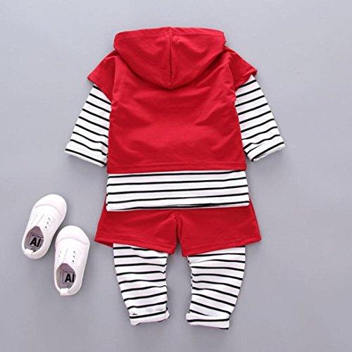 Omiky® Kleinkind Baby Kinder Jungen Outfits Kapuzenpullis + Streifen T-Shirt + Hosen Kleider Set Rot