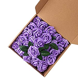 Futureshine Artificial Flowers 25pcs Real Looking Plum Purple Fake Roses w/Stem for DIY Wedding Bouquets Centerpieces Bridal Shower Party Home Decorations Purple 52