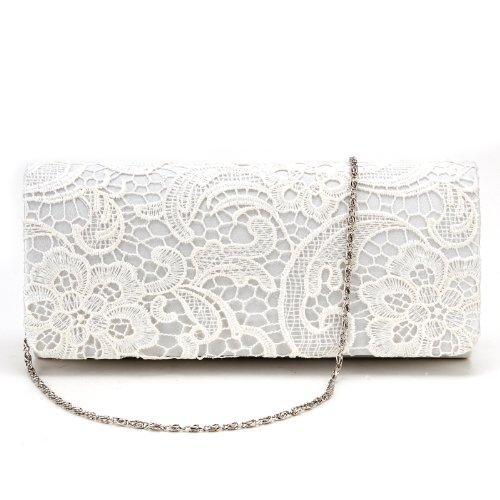 pr en Pochette a Blanc Dentelle Fille Style Florale Portefeuille en Femme Sac Satin Main Rabat fPqnxxR8w