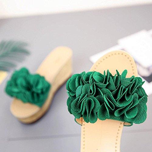 IGEMY Mädchen Sommer kühle Blumenplattform wasserdichte Sandaletten Keil Pantoffel Grün