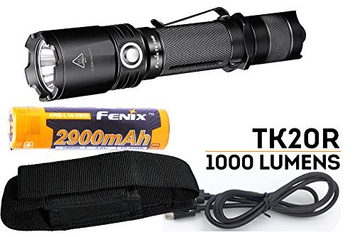 Fenix TK20R 1000 Lumen Rechargeable Cree LED Tactical Flashlight, 2900mAh 18650 battery, Holster and LegionArms USB Charging Cord