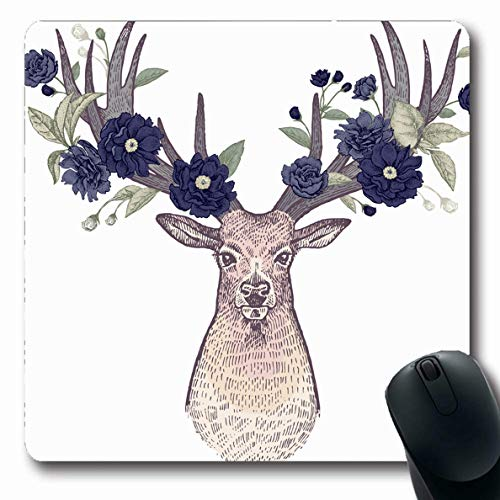 Ahawoso Mousepad Oblong 7.9x9.8 Inches Hand Reindeer Head Deer Big Horns Full Face Abstract Antlers Beast Birds Black Design Engraving Office Computer Laptop Notebook Mouse Pad,Non-Slip Rubber