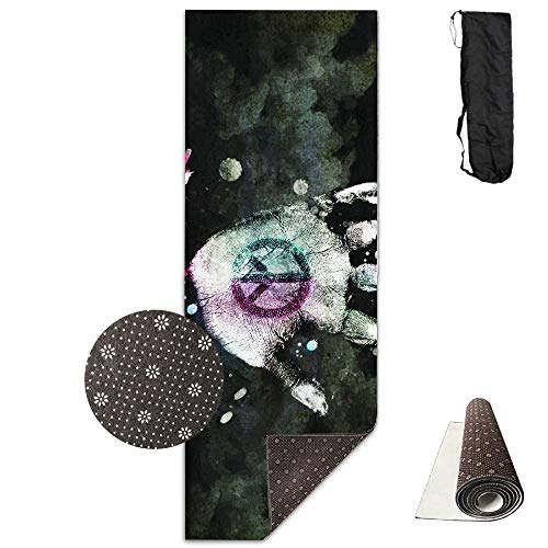 SHLEMAO Peace Sign Hand Yoga Mat - Advanced Yoga Mat - Non-Slip Lining - Easy to Clean - Latex-Free - Lightweight and Durable - Long 180 Width 61cm ()