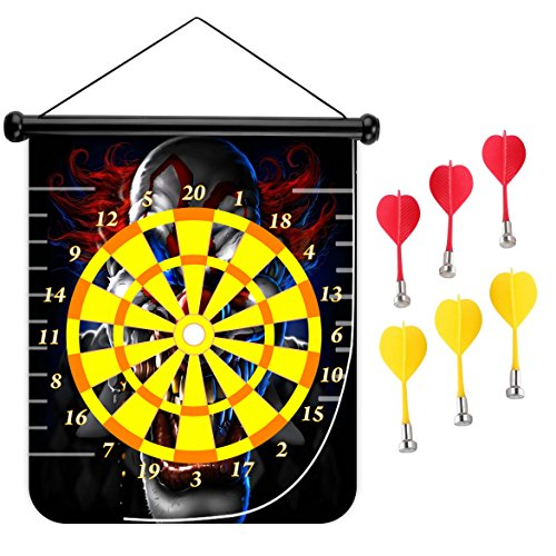 15 inches Magnetic Dart Board Double Sided Hanging Dart Board Set and Bullseye Game! Clown ()