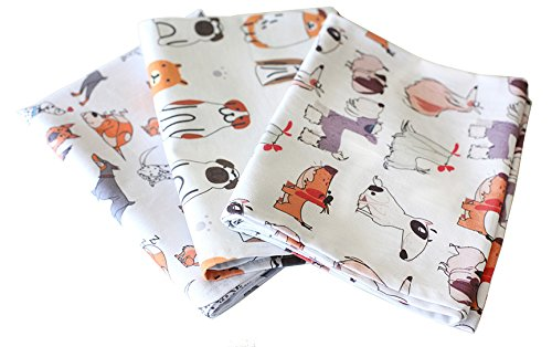 Sunshine Vibes SET OF 3 tea towels 100% cotton dog lover pattern with hanging loop; to tackle all of your drying, wiping and cleaning kitchen tasks for dog lover! (Patterns Christmas Tea Towels)