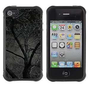 "Hypernova Defender Series TPU protection Cas Case Coque pour Apple iPhone 4 / iPhone 4S [Noche Árbol Bosque asustadizo de Halloween""]"