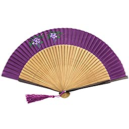 Perforated Woood Folding Fan - Hand Painted Fabric - Purple Flowers - Plum Violet