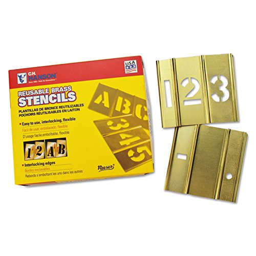 15 Piece Single Number Sets, Brass, 3 in (15 Pack) by C.H. Hanson