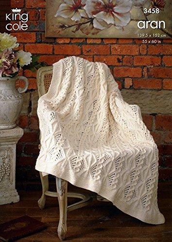 King Cole Home Afghan Throw Fashion Knitting Pattern 3458 Aran