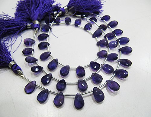 AAA Quality Natural African Amethyst Briolette Pear Shape Beads / Genuine Amethyst Flat drop Shape 6x9 to 7x12 mm Beads / Strand 8 inch long - Gemstone Pear Briolette Beads