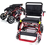 Geo Cruiser Elite EX Heavy Duty Rugged Folding Lightweight Travel Compact Powerchair Lithium Power - RED