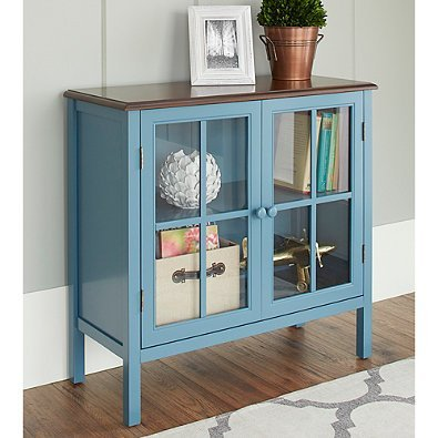 Amazon Chatham House Baldwin Double Door Glass Cabinet In Blue