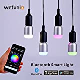 Smart Bluetooth LED Light Bulb, Dimmable Multicolored RGB Changing Lamp 6W E26 E27 Based App Remote Control for Android and iOS Phones [24 Month Warranty]-WeFunix 600