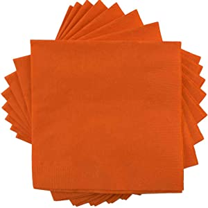 JAM PAPER Small Beverage Napkins - 5 x 5 - Orange - 50/Pack