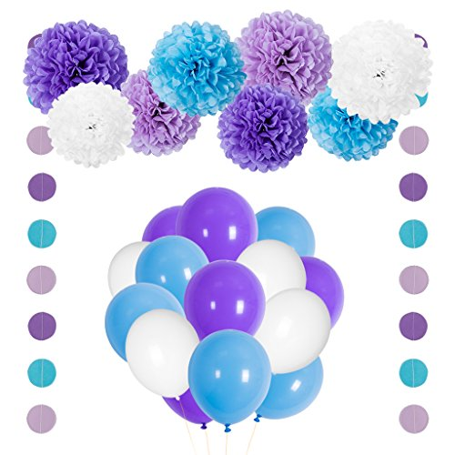 Mermaid Party Decorations Purple Blue Tissue Pom Pom Flowers Balloons Circle Garland Kit for Birthday Bridal Baby Shower (Blue And Purple Balloons)