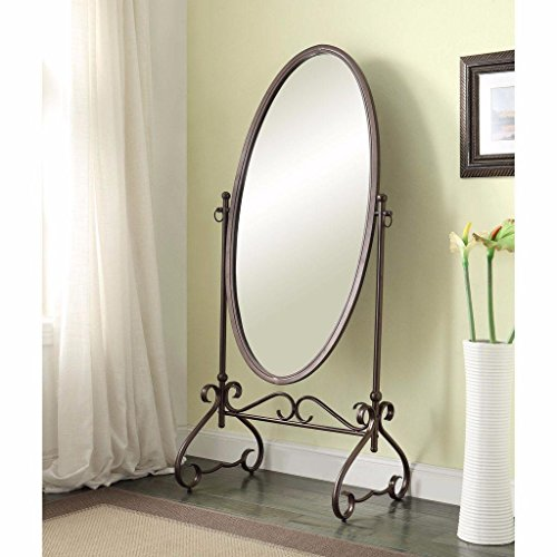 Antique Brown Finish 26'' x 63'' Oval Cheval Mirror Made From Metal with Scroll Accent on Feet and Base Vintage Look Included Cross Scented Candle Tart by Unknown