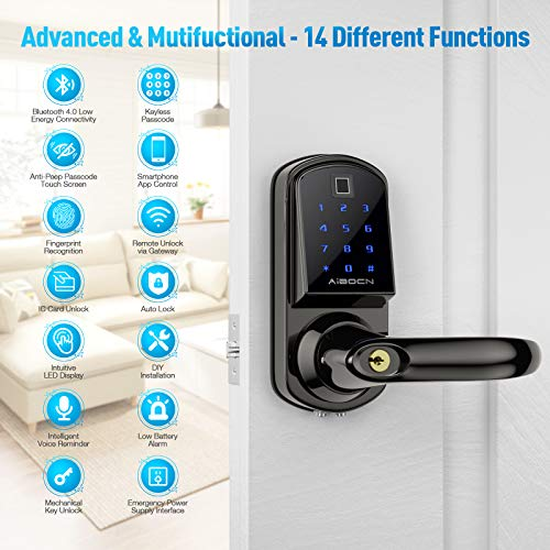 Aibocn Fingerprint Smart Lock, Keyless Entry Door Lock with Bluetooth, Touchscreen Keypad Deadbolt Lock with App Control, IC Card, Code, Easy to Install for Home Hotel Apartment, Reversible Handle (Right Handle)