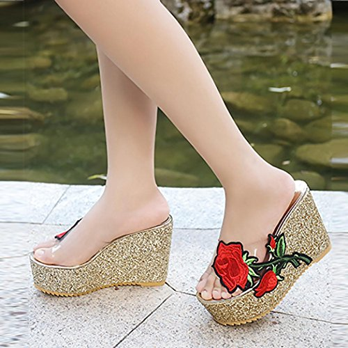 hunpta Women Thick-Bottom Sloped Slippers Embroidered High-Heeled Wedges Platform Shoes Gold 9Gntold6o