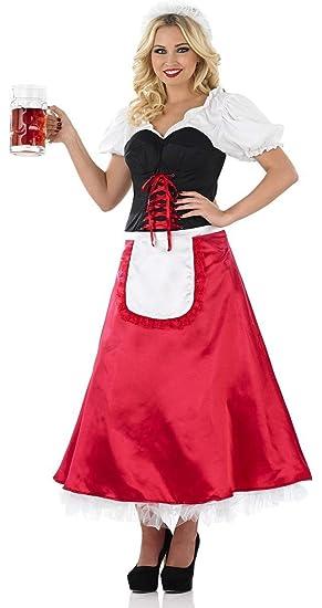 98feac2d625 Ladies Longer Length Beer Girl Oktoberfest Fancy Dress Costume Outfit 8-26 Plus  Size  Amazon.co.uk  Clothing