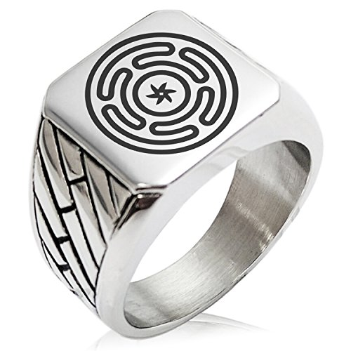 Two-Tone Stainless Steel Hecate Greek Goddess of Magic Engraved Geometric Pattern Biker Style Polished Ring, Size 13