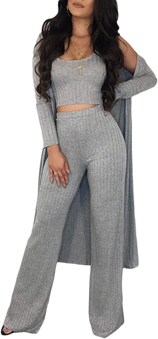 3 Piece Sets Women Knitted Crop Top Tank Wide Loose Leg Pants Long Sleeve Coat