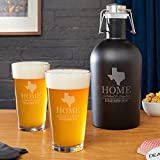Steel Growler and Pint Glasses with Your Home State (All 50 Avail) by HomeWetBar