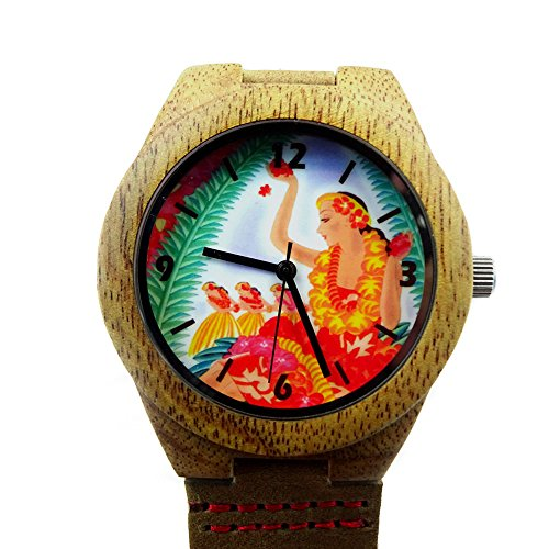 Price comparison product image Handmade Kahala Wooden Watch Made With Natural Acacia Koa Wood with Lei Dancing Hawaiian Artwork - HGW-206