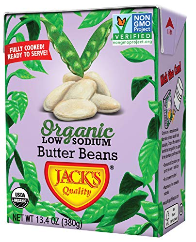 Jack's Organic Beans - Butter (7 Options) 13.4oz, 8 Pack, Ready-to-Eat, Non GMO, Low Sodium, 100% Sustainable Packaging, Easy Open, BPA Free