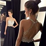 YuNuo Sparkly Crystal Beading Prom Dresses Long 2018 Sexy Open Back Party Ball Gown Scoop Bridesmaid Dresses