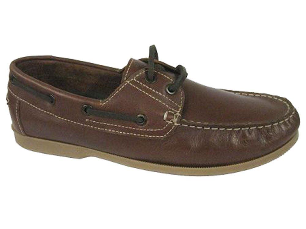 Shoreside Hombre cuero de imitación zapatos del barco 44 EU|Brown (Suela Verde Oliva)