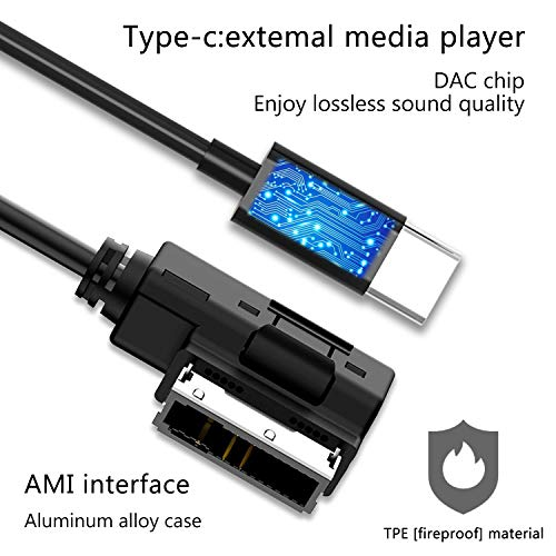 Audi AMI to Type C Aux Cable, VIMVIP WV AMI MDI to USB Type C Audio Aux Adapter Cord [DAC Chip] Compatible with Pixel 2/XL HTC U11/U12+ Moto Z2 Samsung LG V30 Huawei New Macbook for Audi WV (3.3FT) by VIMVIP (Image #2)
