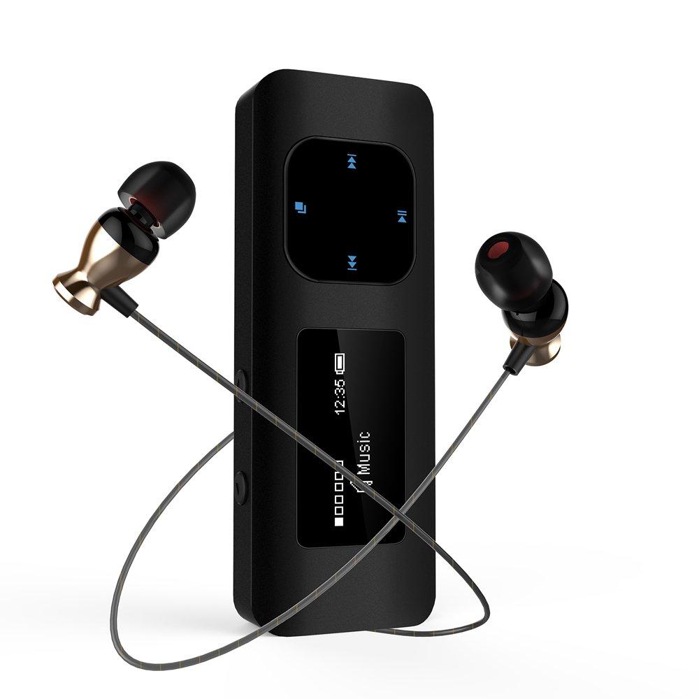 Reproductor MP3 Clip, MP3 Running con Carcasa Metálica Diseño Anti-choque, 16GB USB Mini MP3 con Radio FM, Grabador de Voz, Brazalete y Auricular para Senderismo y Camping