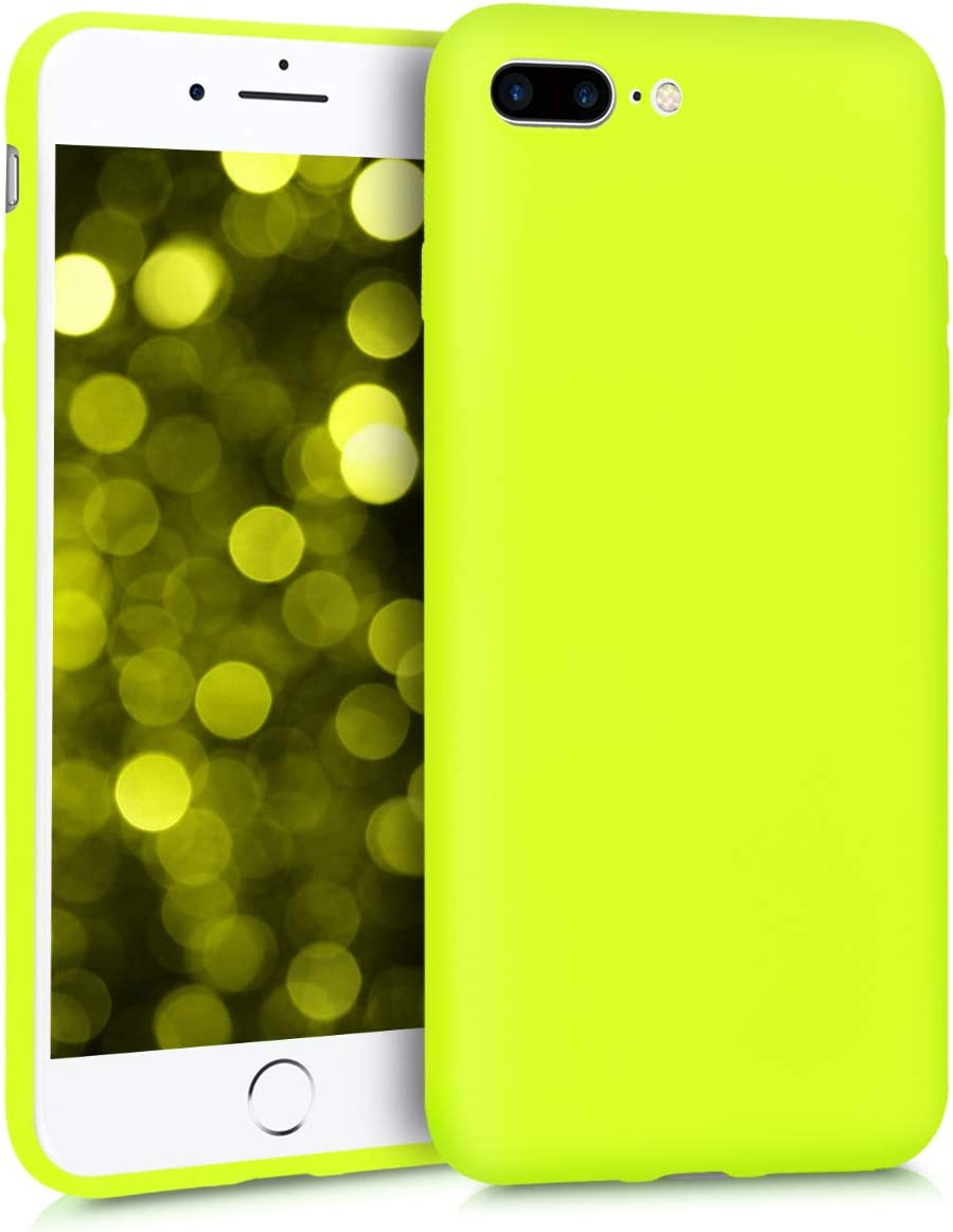 kwmobile TPU Silicone Case Compatible with Apple iPhone 7 Plus / 8 Plus - Soft Flexible Protective Phone Cover - Neon Yellow