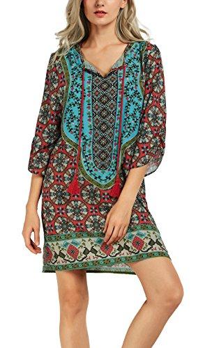 Urban CoCo Women Bohemian Neck Tie Vintage Printed Ethnic Style Summer Shift Dress (2XL, Pattern 8)